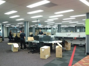 staff setting up new computers