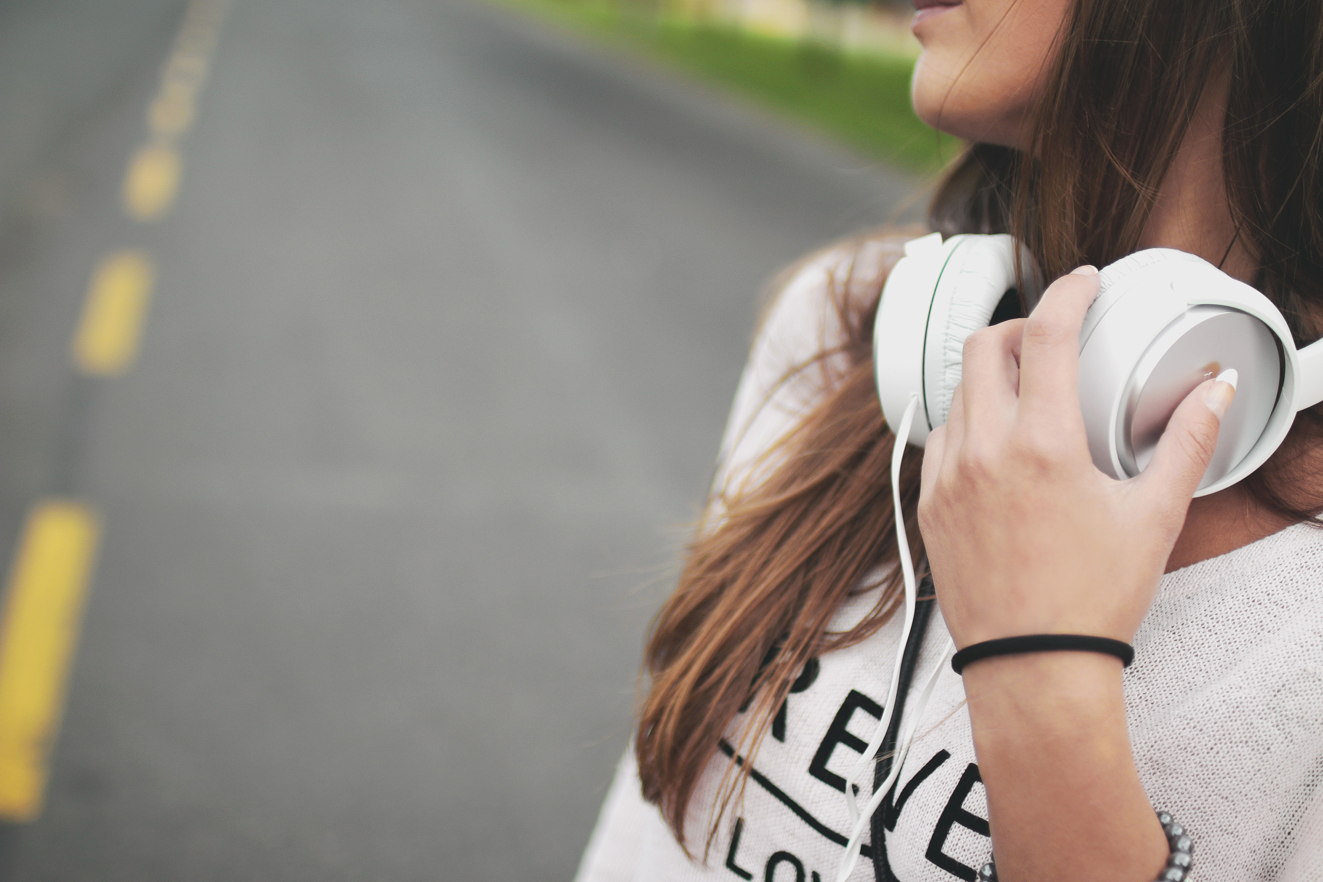 Girl listening to music to soothe stress